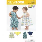 6568 New Look Pattern: Baby Dress, Dungarees, Lightweight Jacket